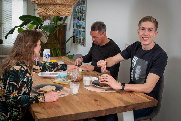 Wessel Been, spits van PEC Zwolle Onder 21, voelde zich direct thuis in het gezin van Sandro en Cristel Malherbe.