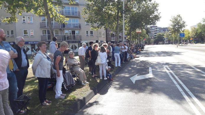 Wachten op de colonne in Eindhoven.