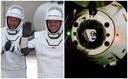 Astronauten Bob Behnken en Douglas 'Doug' Hurley en de SpaceX Crew Dragon.