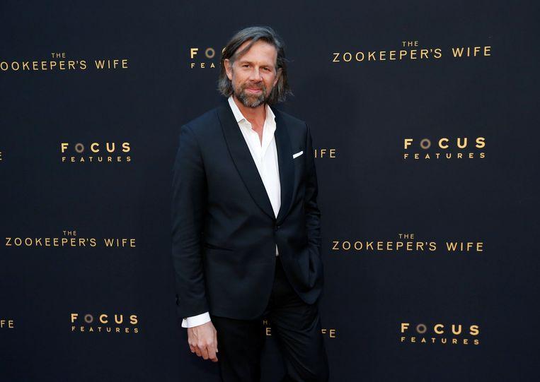 Poseren bij de première van 'The Zookeeper's Wife' in Los Angeles. Beeld REUTERS