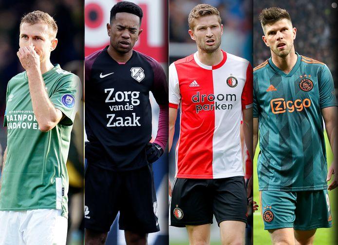 Vlnr: Daniel Schwaab (PSV), Urby Emanuelson (FC Utrecht), Jan-Arie van der Heijden (Feyenoord) en Klaas-Jan Huntelaar (Ajax).