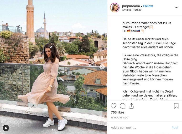 """""""Het was een persreis die volledig de mist in ging"""", schrijft Daria op Instagram."""