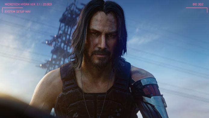 Hollywoodacteur Keanu Reeves, als Johnny Silverhand, speelt een belangrijke rol in 'Cyberpunk 2077'.
