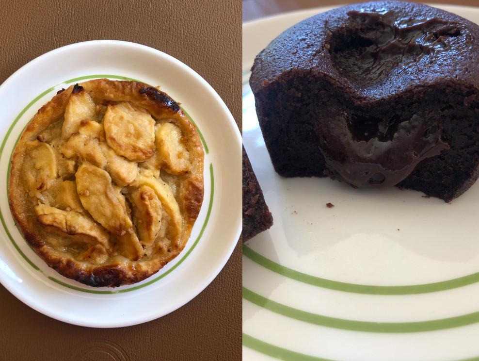 Als dessert een goed stukje appeltaart (links) en de chocolade moeulleux (rechts).