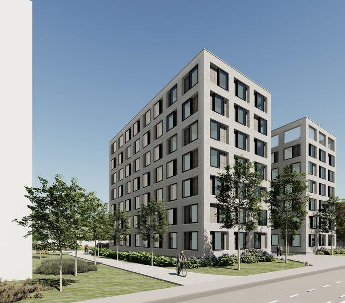 De nieuwe hoogbouw, kant Burgemeester Vercruysselaan