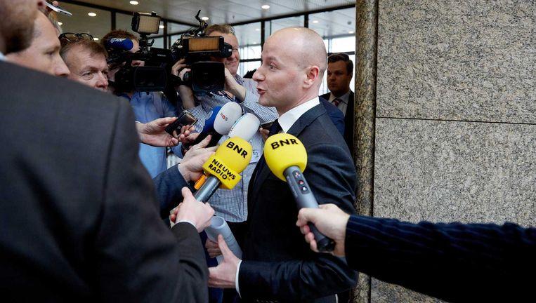 VVD-Tweede Kamerlid Mark Verheijen beantwoordt vragen van de pers in de Tweede Kamer, vandaag. Beeld anp