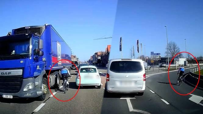 Wielertoerist laveert tussen de auto's: dashcam legt gevaarlijke manoeuvres vast op beeld