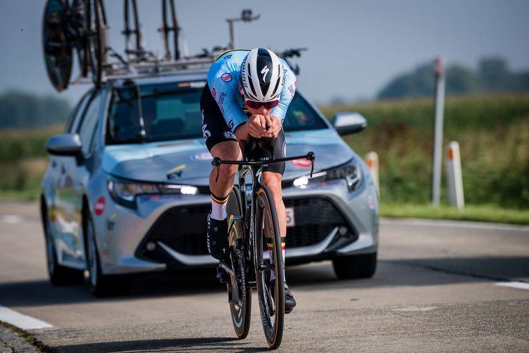 Remco Evenepoel: 'Het doel is met twee Belgen op het podium te staan.' Beeld Photo News