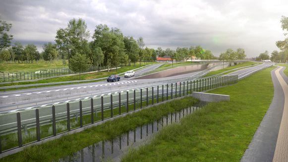 De nieuwe weg loopt onder de brug in de Schipstraat.