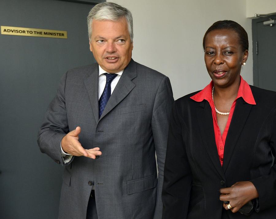 La ministre rwandaise des Affaires étrangères Louise Mushikiwabo et Didier Reynders