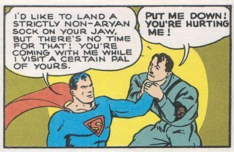 Superman pakte al eens graag Hitler bij de keel. Beeld DC Comics