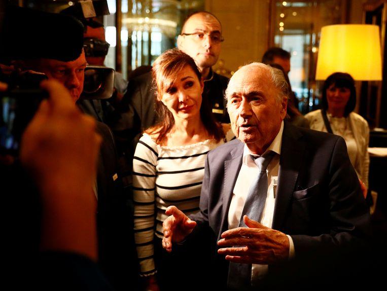 Blatter in Moskou tijdens het WK 2018.  Beeld REUTERS