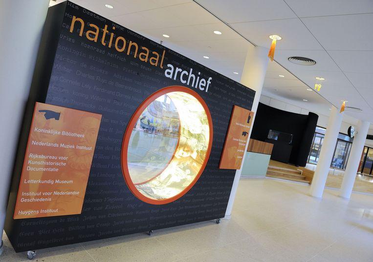 De entree van het Nationaal Archief in Den Haag. Beeld anp