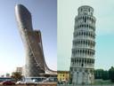 Links de impressionante Capital Gate Tower in Abu Dhabi, rechts de beroemde toren van Pisa.