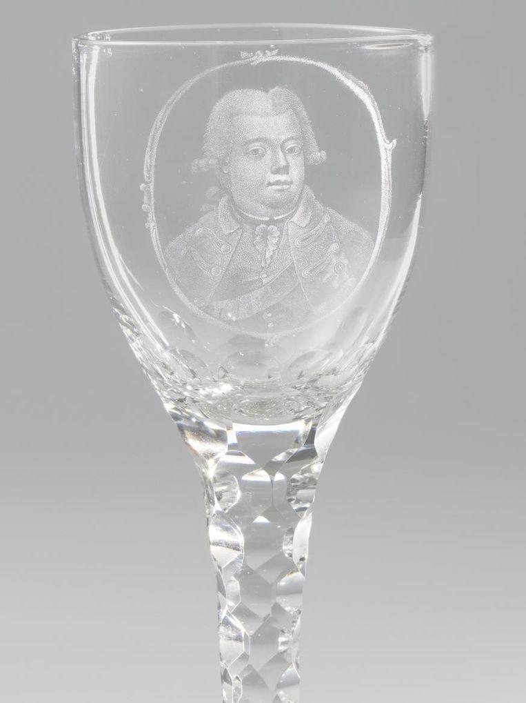 Kelkglas met portret van Willem V Beeld Rijksmuseum