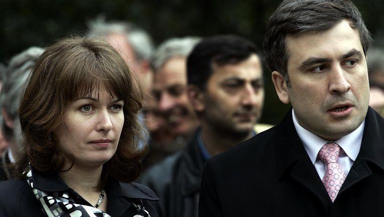 Oud-president Saakasjvili met zijn Nederlandse vrouw Sandra Roelofs. Beeld anp