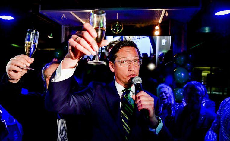 Joost Eerdmans en zijn Leefbaar Rotterdam werd de grootste partij van de stad. Beeld ANP