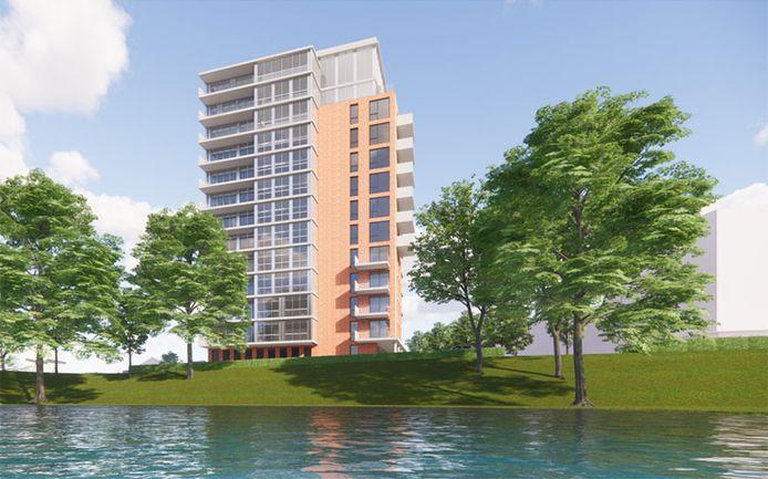 Impressie van de nieuwe toren in Papendrecht. Die wordt iets minder oog dan gepland.