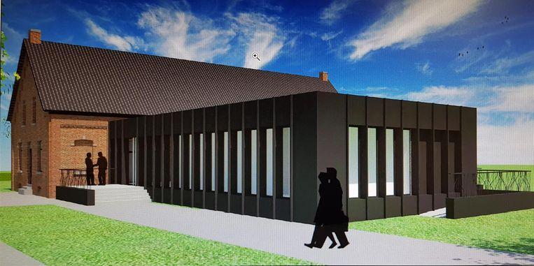 Een simulatiebeeld van het nieuwe glazen inkomgebouw.