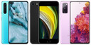 OnePlus Nord, iPhone SE en Samsung Galaxy S20.