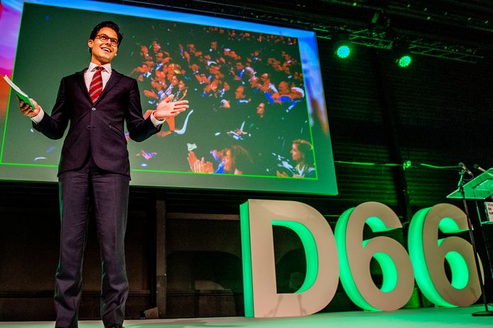 Rob Jetten hield vanmiddag op het D66-congres in Zaandam zijn eerste toespraak als nieuwe fractieleider van zijn partij
