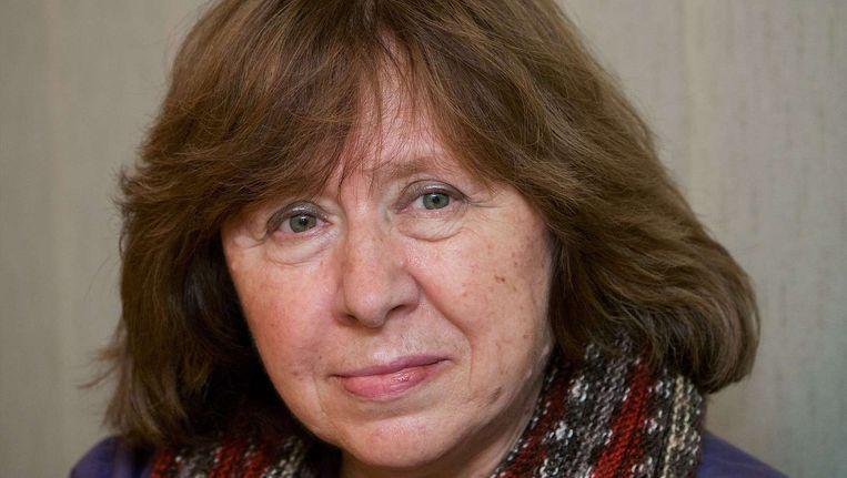 De Wit-Russische journalist en schrijfster Svetlana Aleksijevitj is veelgenoemd als favoriet voor de prijs Beeld AFP