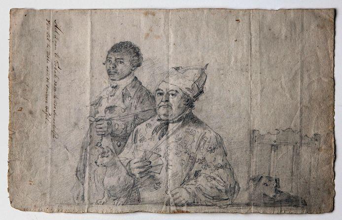 Augustus van Bengalen, jongmatroos van de Verenigde Oost-Indische Compagnie (VOC), houdt de pijp van Hendrik Cloete vast (ca. 1788), maker anoniem.