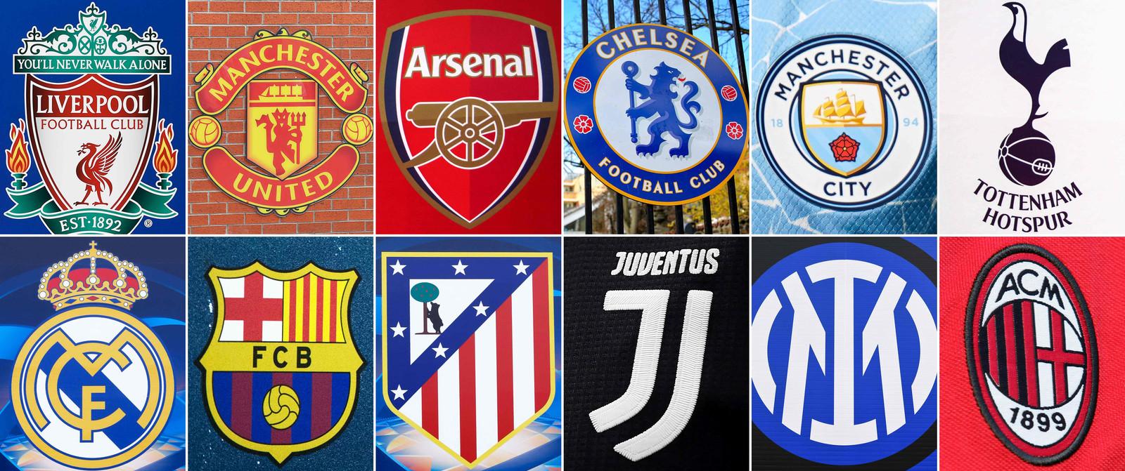 De tien clubs die de Super League-plannen smeedden.