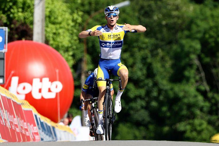 Robbe Ghys wint de openingsetappe in de Ronde van België. Beeld Photo News