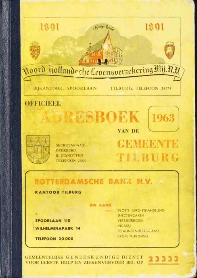 Voorkant Officieel Adresboek gemeente Tilburg 1963