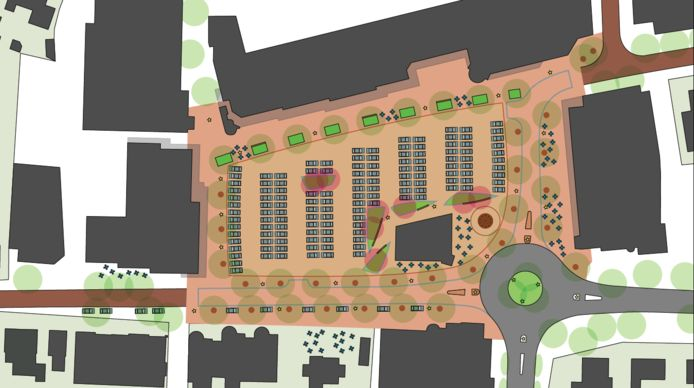 Het ontwerp voor het nieuwe Mercuriusplein.