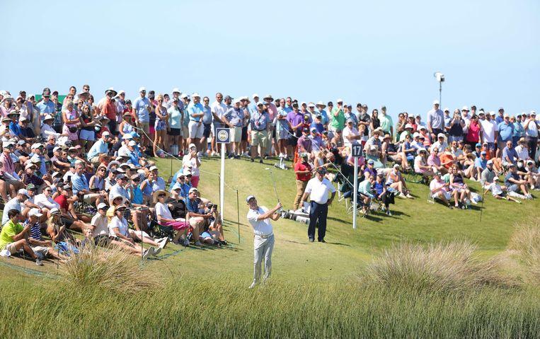 Lee Westwood in actie tijdens de US PGA op Kiawah Island, South Carolina. Beeld AFP