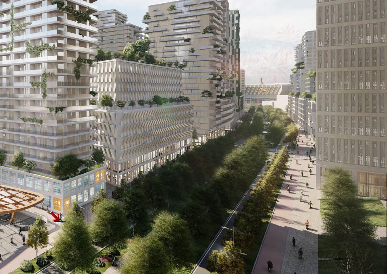 Een impressie van het ambitieuze plan van de gemeente Eindhoven voor het gebied ten noorden van het station. Snelle uitvoering is niet te verwachten.