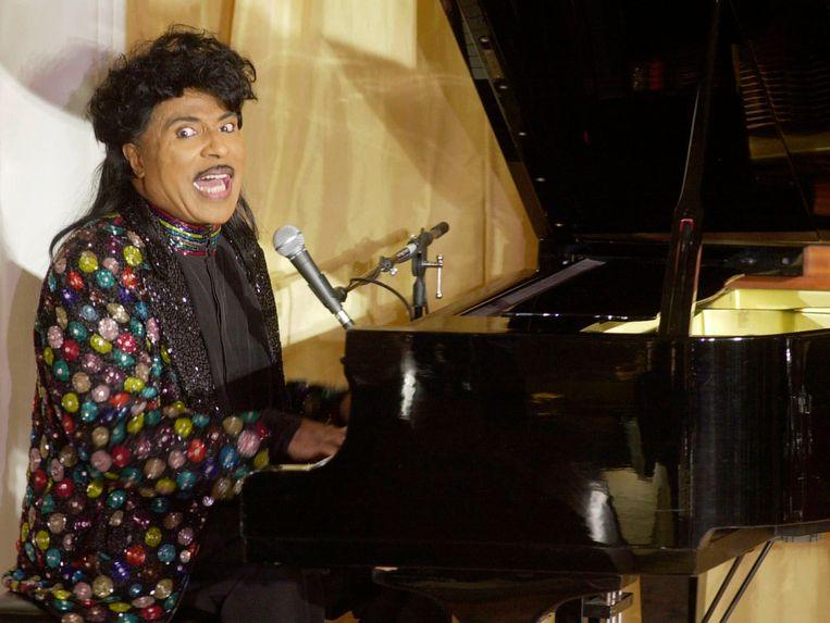 Little Richard (1932-2020) tijdens een optreden in Beverly Hills, 2001. Beeld AP