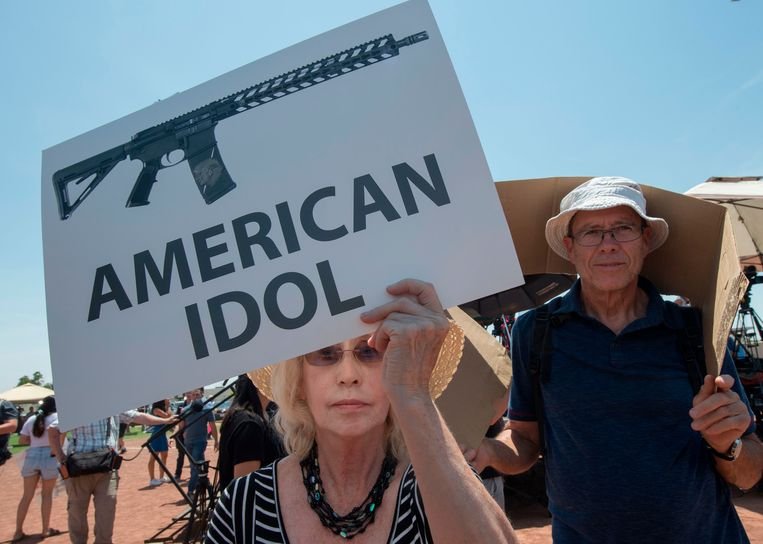 Protest bij het bezoek van president Trump in El Paso. Beeld AFP