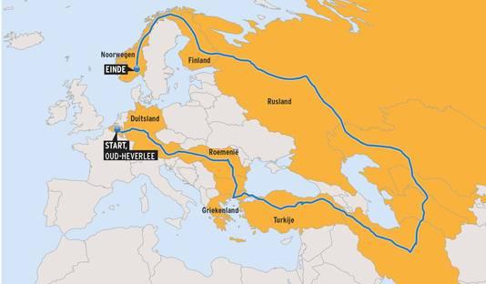 Het parcours dat Dominique aflegde: doorheen 15 landen in 170 dagen. Na Noorwegen is ze via Duitsland weer naar huis gereden.