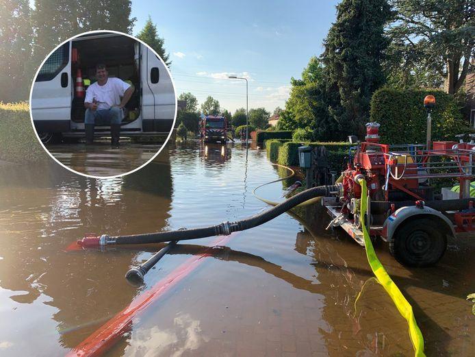Parcival Koopman uit Nijeveen is vrijdagavond met een paar vrienden afgereisd naar Brommelen in Limburg om te helpen met het wegpompen van het vele water.