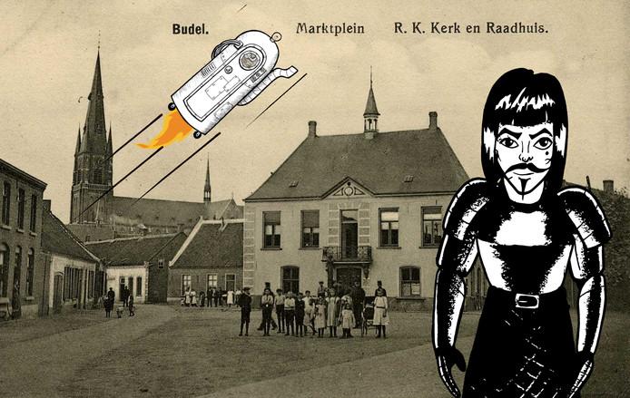 Ridder Kuno op de Markt in Budel.