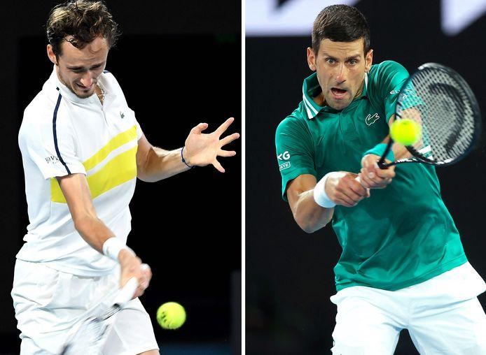 Daniil Medvedev et Novak Djokovic.