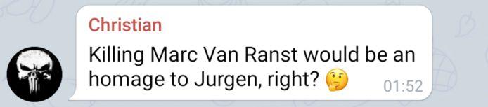 Boodschap die maandag verscheen op het Telegramkanaal 'Als 1 man achter Jürgen'