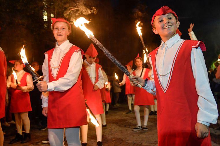 Jonge deelnemers aan de stoet, in 2018. Beeld Copyright : Geert De Rycke