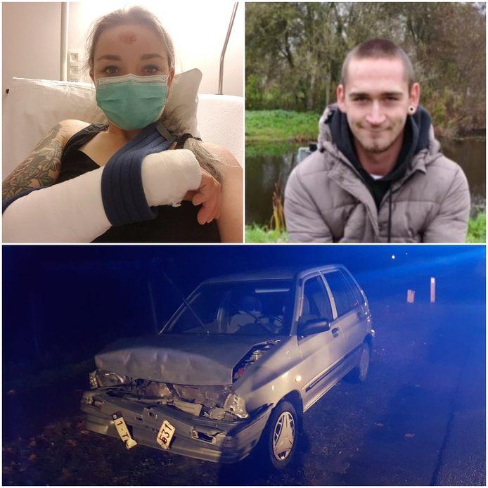 Juultje Berben (links) en Jorre Goris (rechts) liepen de zwaarste verwondingen op na de twee ongevallen. De auto van Juultje is ook rijp voor de schroot.