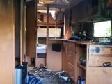 Uitgebrande caravan op camping 't Haasje onbewoonbaar