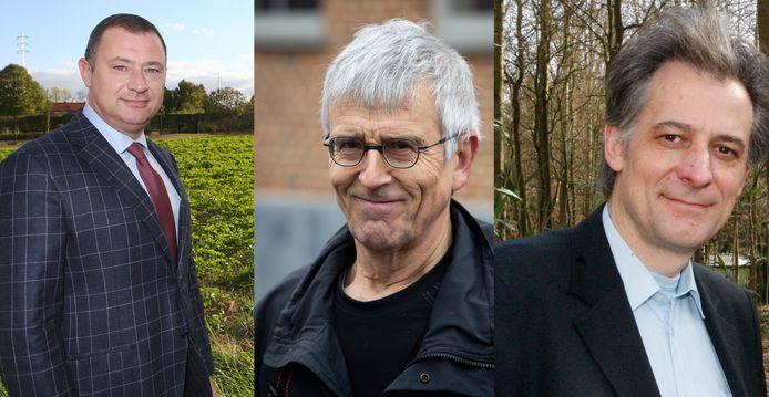 Burgemeesters Peter Reekmans (links) en Rudi Beeken (rechts) hebben, rechtstreeks of onrechtstreeks, nog altijd te maken met procedures die verband houden met trage wegen activist Marc Van Damme (midden)