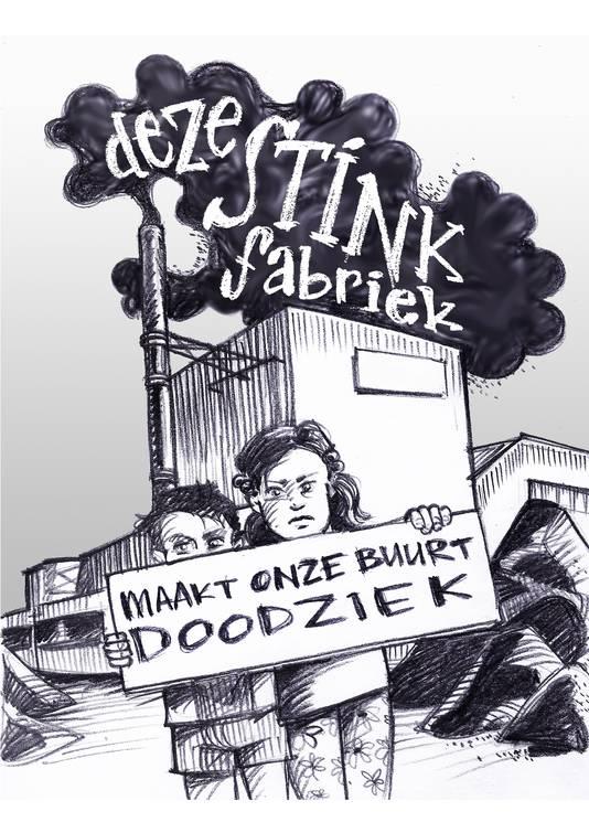 Protestposter in de wijk Hees tegen de asfaltfabriek APN van Dura Vermeer aan de Energieweg in Nijmegen.