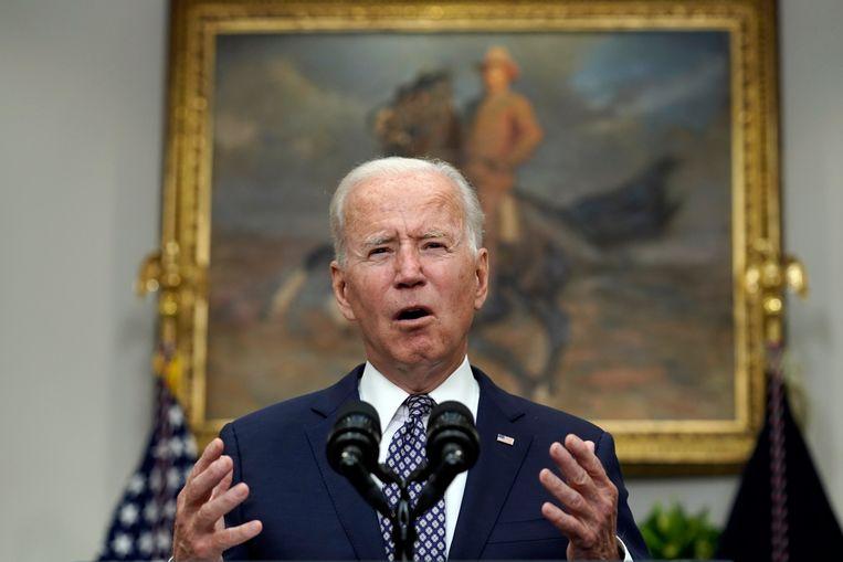 De Amerikaanse president Joe Biden: 'Elke dag dat we daar actief zijn, stijgt het risico voor onze militairen'.  Beeld EPA