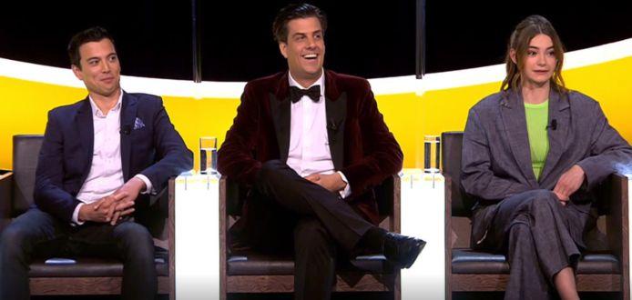Andries Tunru, Rob Kemps en Emma Wortelboer in de finale van de Nederlandse versie van 'De Slimste Mens'.