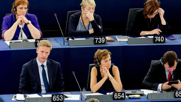 Archiefbeeld: Nederlandse Europarlementariërs in de plenaire zaal van het Europees Parlement in Straatsburg tijdens de eerste vergadering na de verkiezingen in 2014. De parlementariërs op de foto komen niet voor in het artikel. Beeld anp