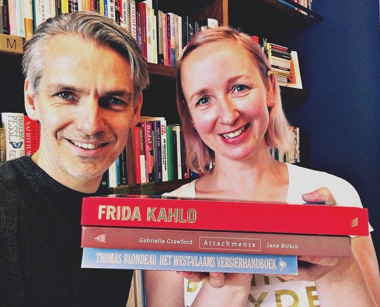 De drie boeken van Heidi Lenaerts. Beeld Wim Oosterlinck
