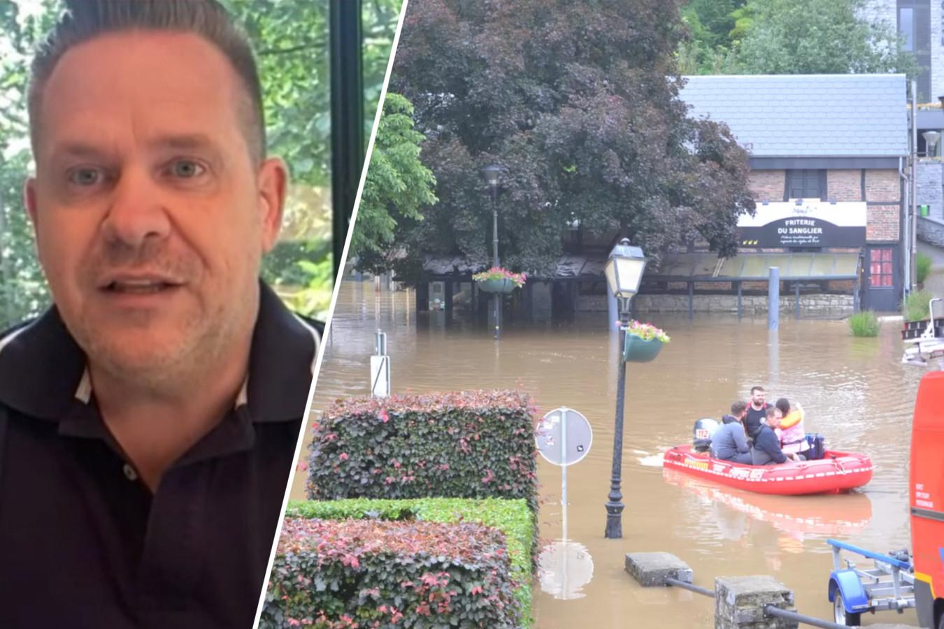 Chef-kok Roger van Damme. Foto rechts: een overstroomd Durbuy, vorige donderdag.